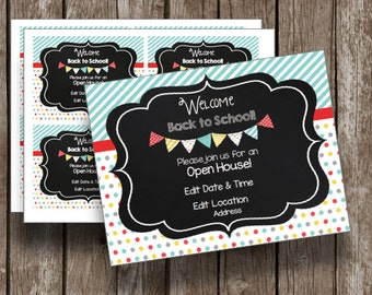 50% OFF SALE - Back To School - Open House - Invitations - Editable - INSTANT Download