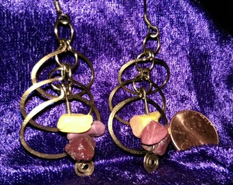 Mookaite and Hammered Brass Earrings