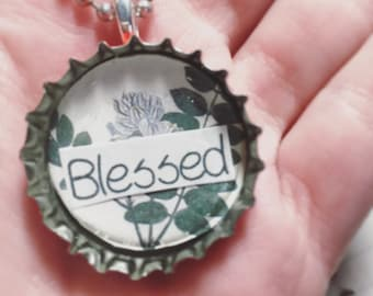 Blessed Bottlecap Pendant - Necklace w/ball chain
