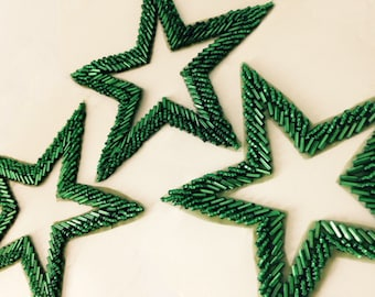 Emerald green seed and bugle bead stars. Holiday decoration. Made in India. 2 stars per order, 2 lots available.
