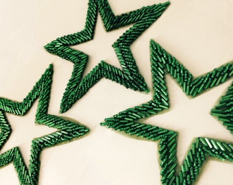 Emerald green seed and bugle bead stars. Holiday decoration. Made in India. 2 stars per order, 3 lots available.
