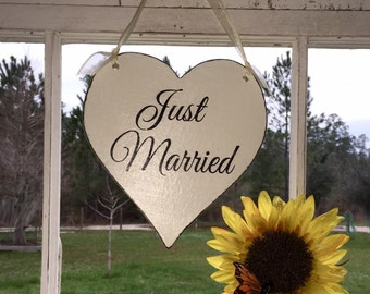 "WEDDING HEART SIGNS | Just Married Sign | Wood Signs | Heart Signs | 8"" sign"