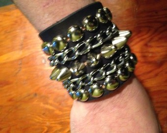 Studded bracelet with Chains