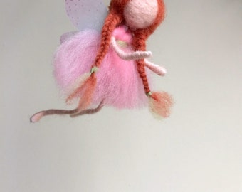 Needle Felted fairy,Cute Felted Pink and green angel