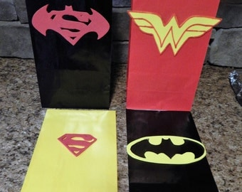 Set of 12 Batman versus Superman Superhero Birthday Party Favor Bags