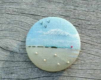 Embroidered brooch, textile brooch, brooch Cap Ferret