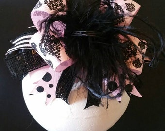 Pink And Black Over The Top Boutique Hairbow Headband Ostrich Feather