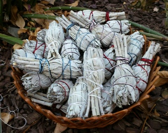 Pack of 3 White Sage Bundles - Perfect for Cleansing and Getting Rid of Negative Energy or Evil Spirits - One Mini Smudge Stick