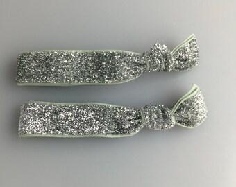 Glitter Elastic Hair Elastics - Silver Glitter (Set of 2)