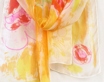 Hand painted silk scarf. Floral scarf bright yellow and orange. Neon summer scarf. Shawl scarf painted, Luxury silk scarf, Painted scarves