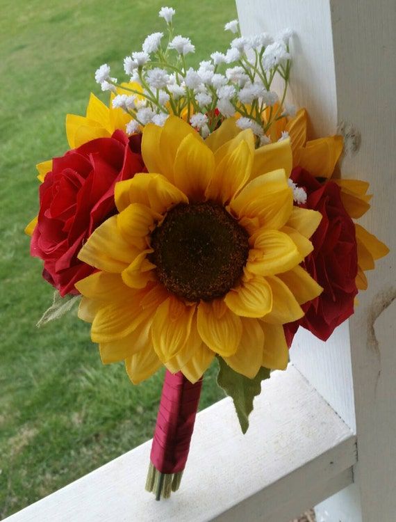 Wedding Flowers Red Roses And Sunflowers Sunflower Bridal
