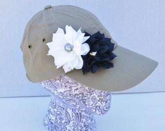 Dallas Cowboys womens baseball hat, Cowboys flower hat, navy, white, and silver flower hat, UConn Huskies womens hat, womens shabby chic hat