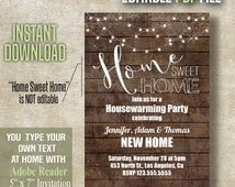 Home Sweet Home, Housewarming party Invitation, Editable Printable PDF file invite, Instant Download A477