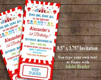Carnival invitation, Circus Birthday, Carnival invite, Instant Download Self-editable PDF file A415