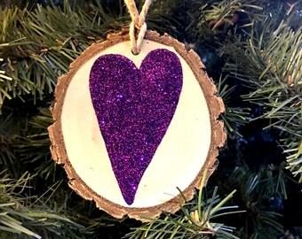 Whimsical Purple Glittered Heart Silhouette Christmas Ornament