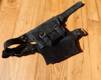 Soft Back Soft Leather Saddle bag style Utility Belt