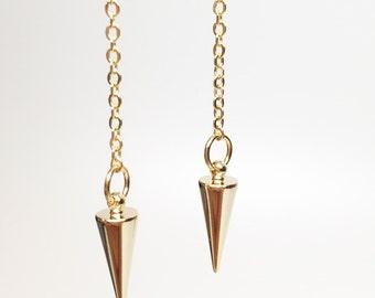 Dangle spike earrings, bullet earrings, dangle gold spike earrings, pointy spike earring, gold spike earrings, edgy earrings, spike earring