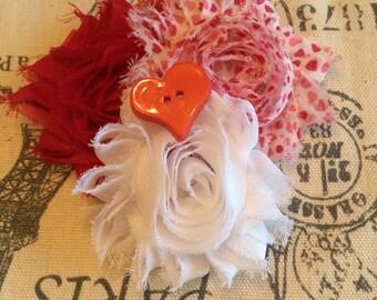 Valentine hair clip/ valentine hair bow/ valentine barrette/ heart hair bow/ heart hair clip/ heart barrette/ red heart hair clip