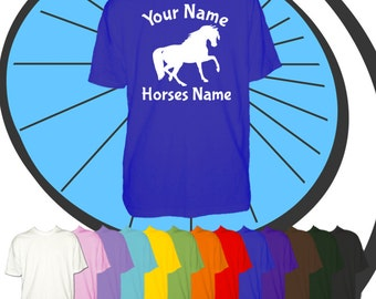 Childrens Custom Printed Horse T Shirt - Riders Name - Horse Personalised  - Personalized Kids Childs Boys Girls Equestrian Present