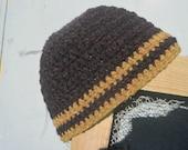 Harris Wool (Bobban Wool) Beanie - teen - ladies medium - Charcoal/Ochre