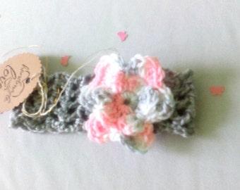 Bnadeau baby crochet with flower - babygirl crochet flower hairband