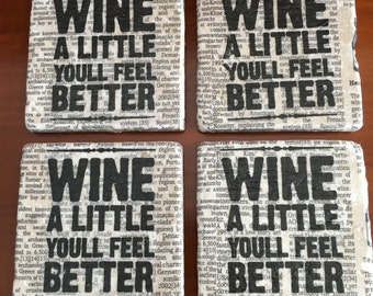 Wine a Little Decorative Tile Coasters