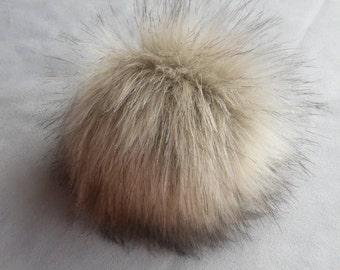 Size L (beige) faux fur pom pom 6 inches/ 15cm