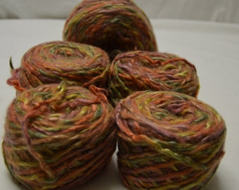Beautiful!!! Recycled Upcycled Repurpose 1ply Worsted Yarn Orange, Pink Yellow Olive Green