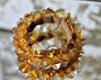 Vintage Bracelet Stretch Amber Beads