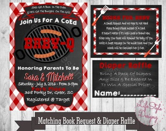 baby q shower invitation bbq baby shower invite chalkboard invitation diaper raffle