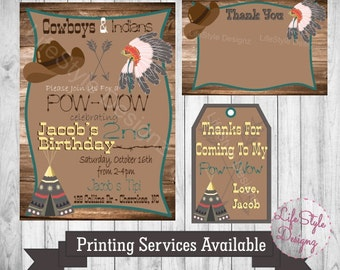 Cowboys and Indians Birthday Invitation - Birthday Party - Cowboys - Indians - Pow-Wow - Tipi - Boys Birthday Party - Headdress