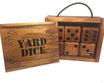 Yard Dice Set with 8 player dry erase Yardzee score sheet - 6 Lawn Dice included, enough to play most popular dice games - Outdoor Games