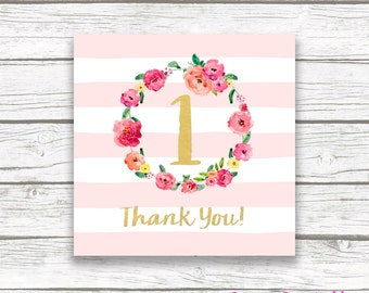 """Pink and Gold Floral Square Favor Tags, Floral Wreath Gold Foil Thank You One First 1st Birthday Party Printable 2"""" Favor Tag Stickers"""