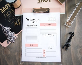Daily Planner, Rustic Planner, Blush, Download, Printable File, PDF File, Planner, Organizer, Full Page, Pink Planner, Gratitude, To Do List