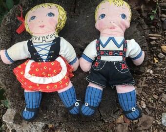 Vintage Creepy-Cute German Cloth Dolls // Lederhosen // Octoberfest