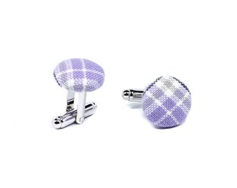 Lavender plaid silver cufflinks, fabric covered cuff links, lilac grey white cotton wedding accessories