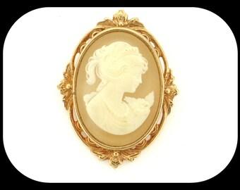 Vintage Designer Whiting & Davis Cameo Portrait Filigree Gold Plated BROOCH