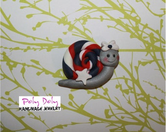 Patriotic Snail Bow Center or Magnet