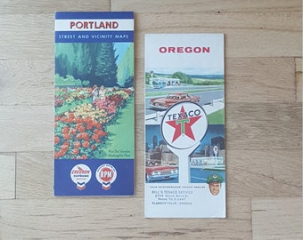 Vintage gas station maps for Portland and Oregon