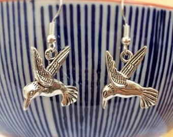 Hummingbird Bird Dangle Earrings Pair Silver Sterling Hooks