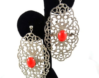 Filigree and Coral Earrings