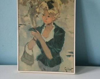 Stunning 60s Grisot print!  Framed vintage print with lady
