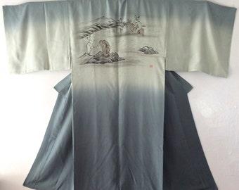 Vintage Japanese Mens NAGAJUBAN, Long Garment, Modified Japanese Old Story, Myth, White Rabbits, Hand painted.
