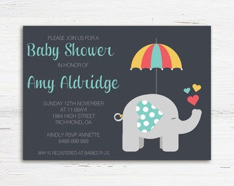 Elephant Baby Shower Invitation, Baby Boy Shower Invitation, Printable Baby Shower Invitation, Elephant Invite, Baby Shower Invite