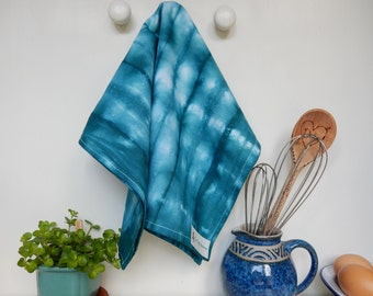 1 Tea Towel - Hand Made 100% Cotton Shibori Tie Dye Green Tea Towel