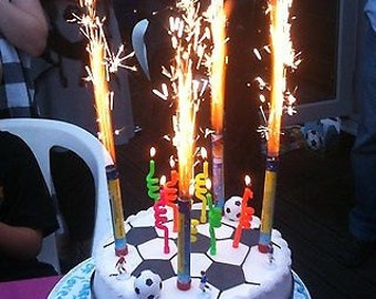 6 Fountain Candles Cake big Birthday flame Candles 6 Pack Fountain candles party large long festive Ice Fountain Cake Topper kids cracker