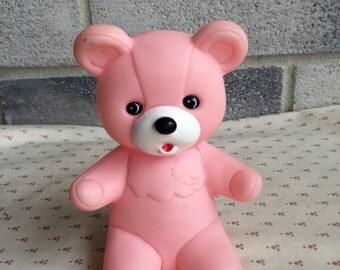 Vintage Bear Squeak Toy, Bear Squeaky Toy, pink squeaker bear