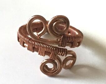 Custom Solid Copper Ring, Wire Wrap Adjustable, Arthritis