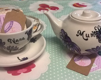 gorgeous hand painted porcelain personalised tea sets , made to order, custom pieces