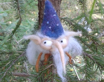 Free shipping worldwide OOAK House elf christmas tree guard needle felted felt gnome